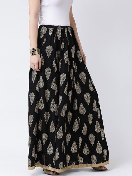 Castle Black Flared Maxi Rayon Skirt