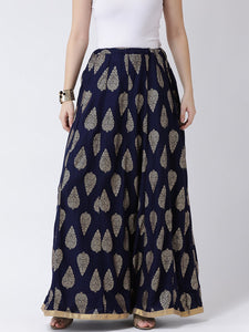 Castle Navy Blue Flared Maxi Rayon Skirt