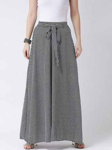 Castle  Black Printed Crepe Skirt