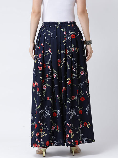 Castle Navy Blue Floral Print Crepe Skirt