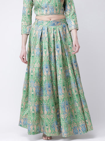 Castle Turquoise Printed Long Skirt