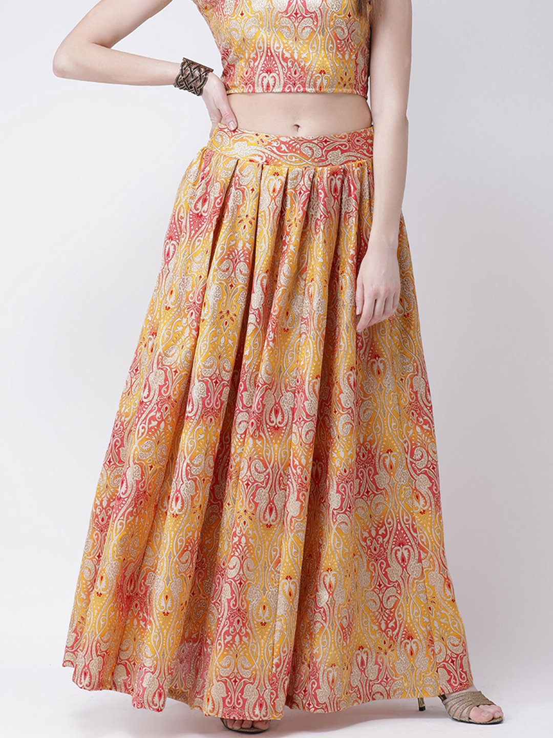 Castle Yellow Printed Long Skirt
