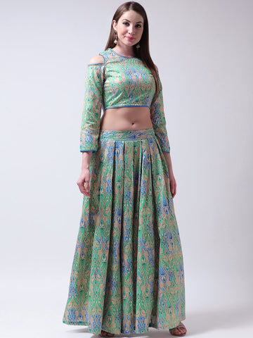 Castle-Multicoloured-Lehenga-with-Cold-Shoulder-Blouse