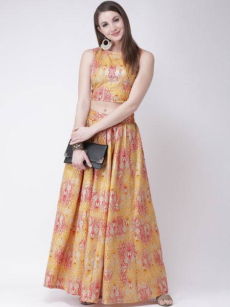Castle Yellow Printed Flared Lehenga with Blouse