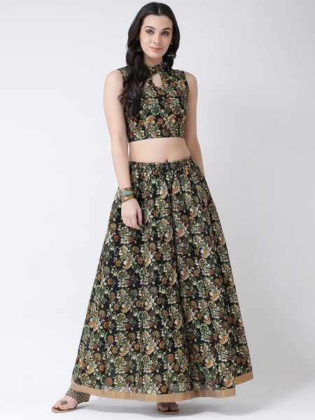 Castle Black Printed Flared Lehenga with Keyhole Sleeveless Blouse