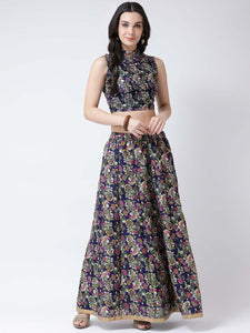 Castle Purple Printed Flared Lehenga with Sleeveless Blouse
