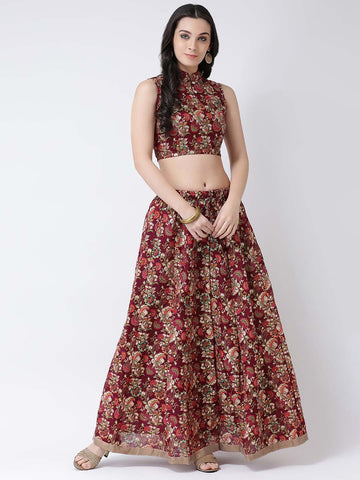Castle Wine Printed Flared Lehenga with Sleeveless Blouse