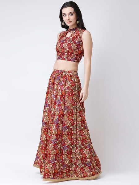 Castle Maroon Printed Flared Lehenga with Keyhole Sleeveless Blouse
