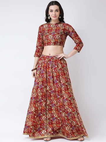 Castle Maroon Printed Flared Lehenga with  Blouse