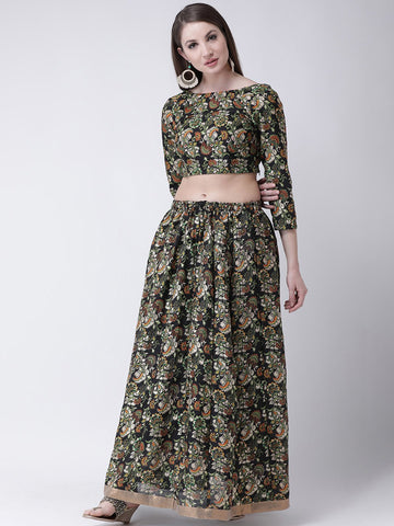 Castle Black Printed Flared Lehenga with Blouse