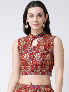 Castle Maroon Banglori Silk Printed Saree Blouse
