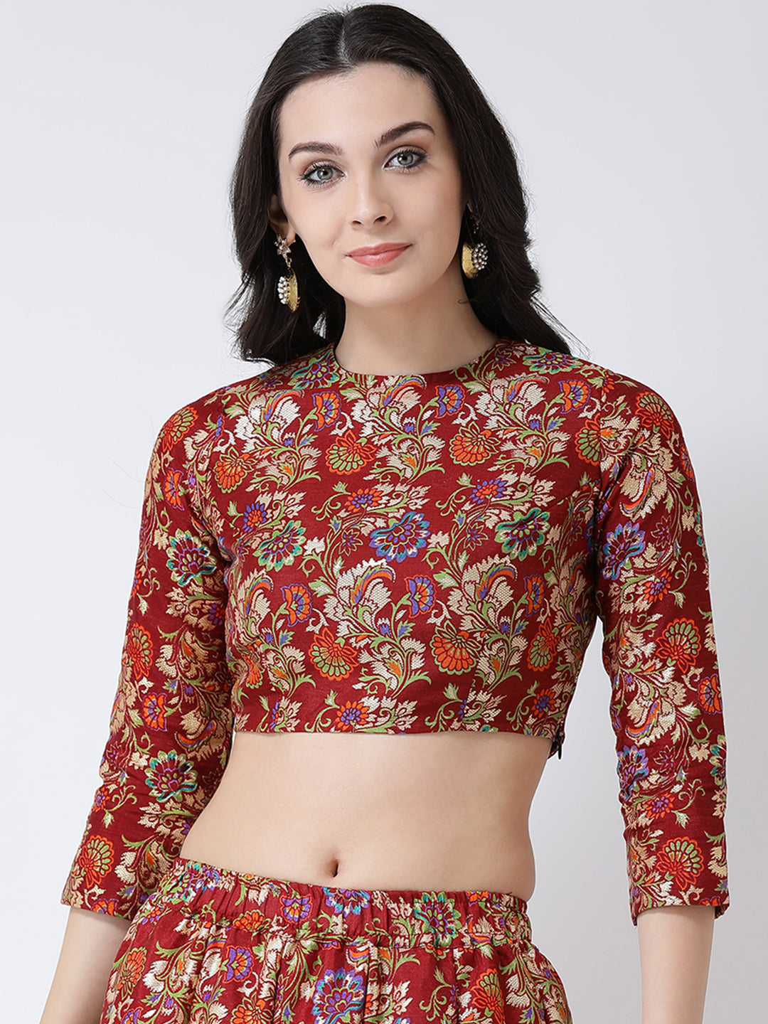Castle Maroon Round Neck Banglori Silk Printed Saree Blouse