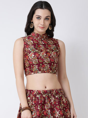 Castle Wine Banglori Silk Printed Saree Blouse