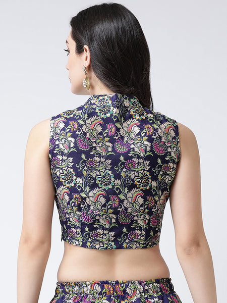 Castle Purple Banglori Silk Printed Saree Blouse