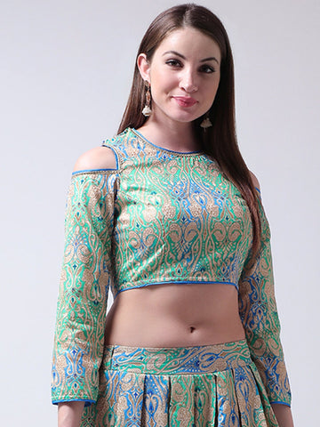 Castle Green Banglori Silk Cold Shoulder Blouse