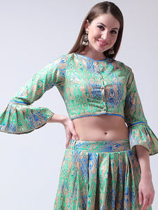 Castle Green Banglori Silk Front Open Blouse
