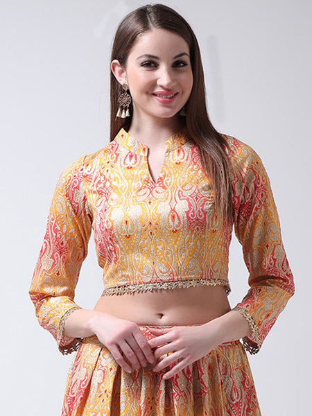 Castle Yellow Banglori Silk Collar Blouse