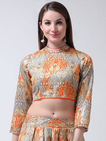 Castle Grey Banglori Silk Choker Neck Blouse
