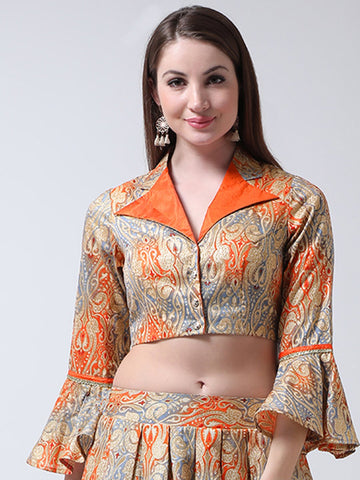 Castle Grey Shirt Collar Banglori Silk Saree Blouse