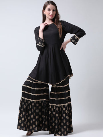 Castle Black Rayon Kurti with Block Printed Sharara