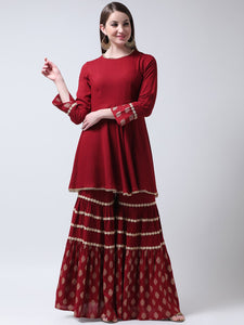 Castle Maroon Rayon Kurti with Block Printed Sharara