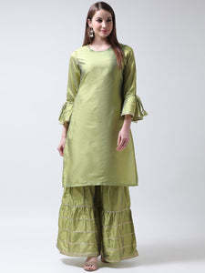 Castle Light Mehendi Solid Tafta Kurta Sharara Set