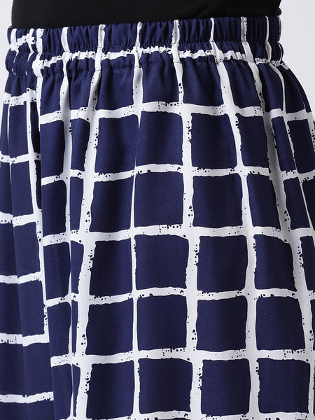 Castle Navy Blue Flared Printed Crepe Palazzo - Castle Lifestyle