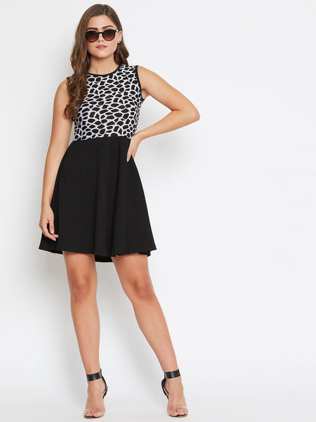 Castle Black and White Animal Print Dress