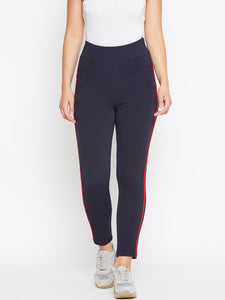 Castle Navy Blue Elastane Jegging With Red Stripe