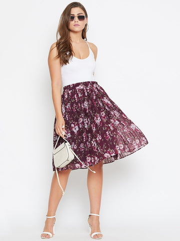 Castle Wine Floral Print Pleated Skirt