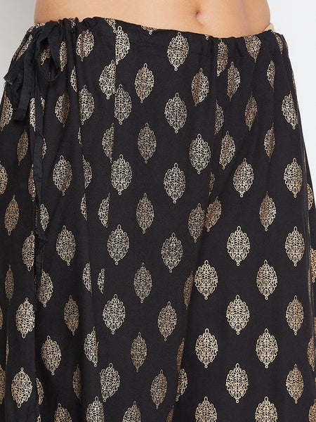 Castle Solid Black Kurta and Printed Sharara Set