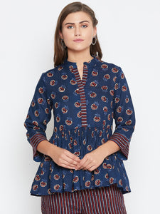 Castle Blue floral print gathers top