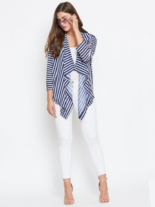 Castle Navy Blue & white  striped longline shrug