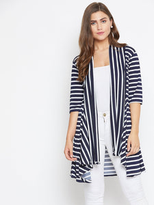 Castle Navy Blue & White striped open front shrug