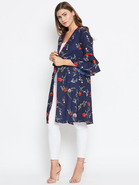 Castle Navy blue floral open front longline shrug