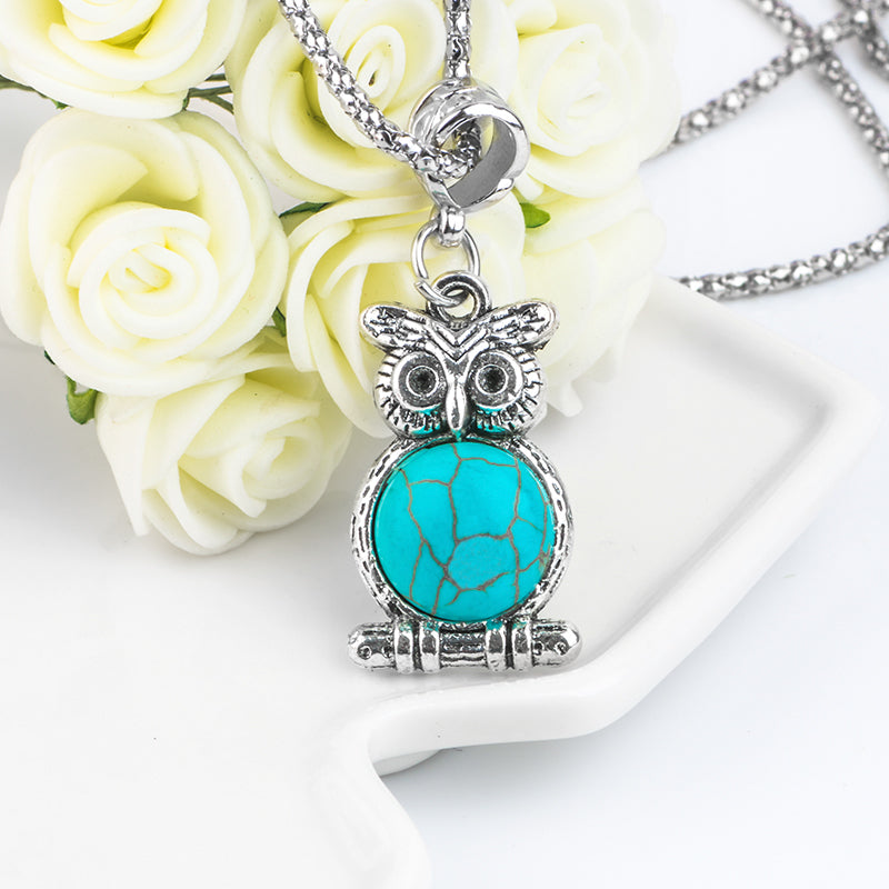 Blue Stone Owl Necklace