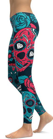 Blue Sugar Skull Leggings