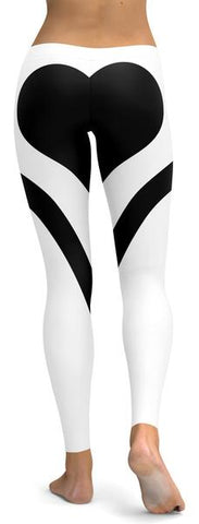 Image of Black Heart Shaped White Leggings-Gift-Hut