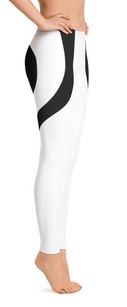 Black Heart Shaped White Leggings-Gift-Hut