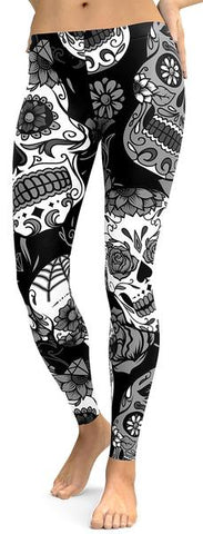 Black & Gray Sugar Skull Leggings