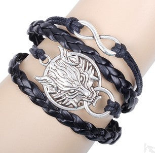 FREE Handmade Black Weave Leather Infinity Wolf Friendship Bracelet