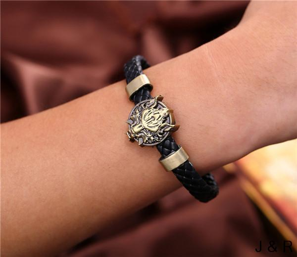Wolf Head Leather Weave Bracelet-Gift-Hut