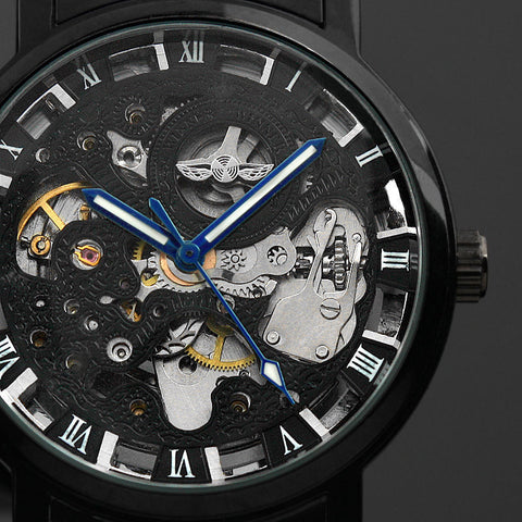 Image of Men's Black Stainless steel Steampunk Skeleton watch-Gift-Hut