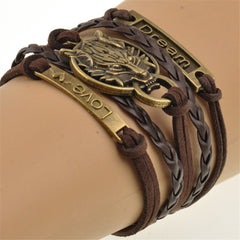 FREE Handmade Brown Weave Leather Wolf Infinity Friendship Bracelet