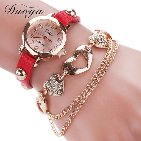 Image of Gold Heart Luxury Leather Wristwatch-Gift-Hut