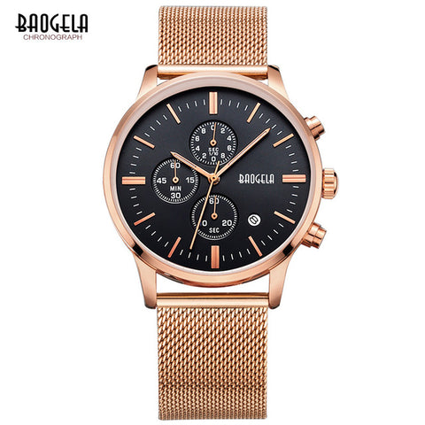 Stainless Steel Mesh Band Quartz Wristwatch