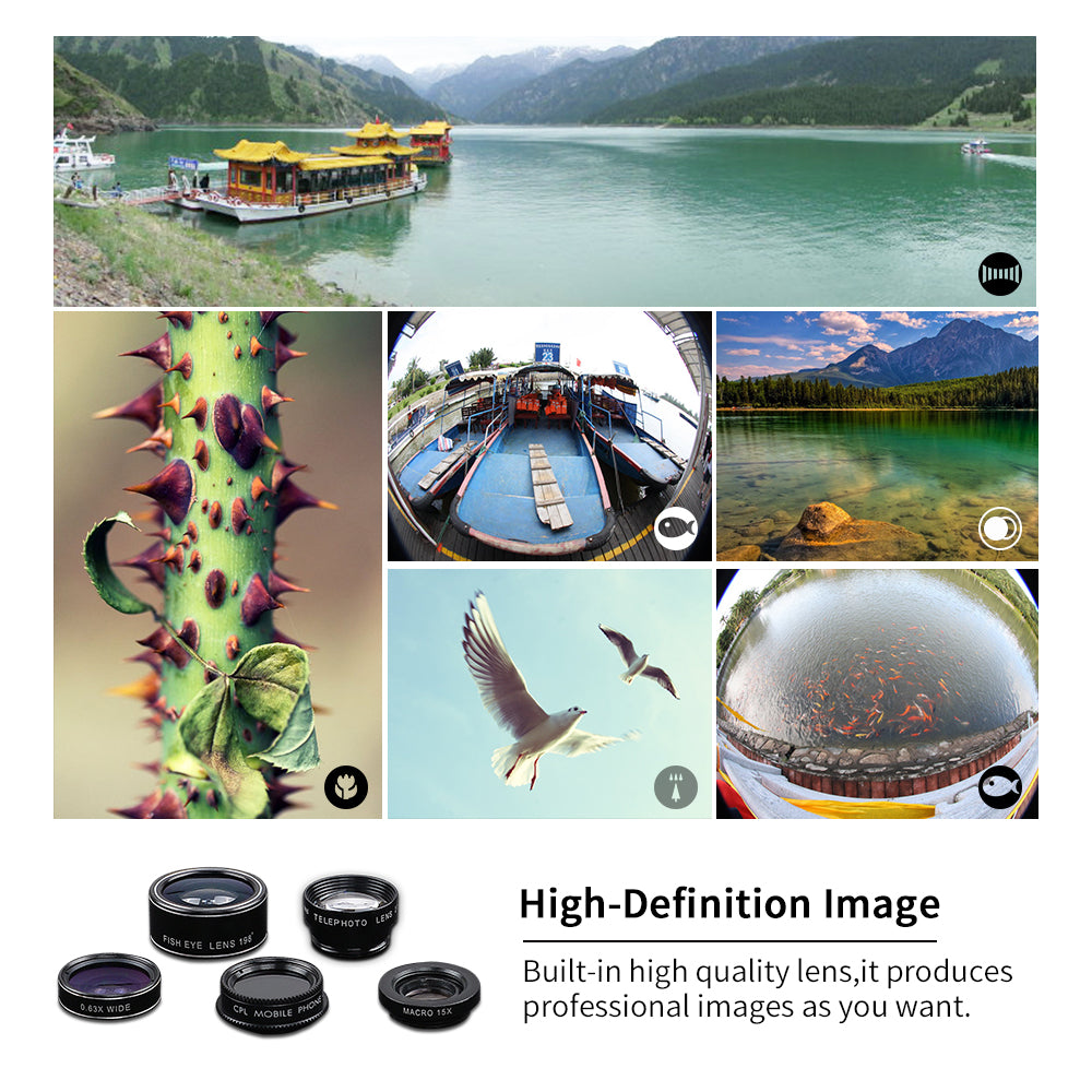 5 in 1 HD Phone Camera Lens Kit-Gift-Hut