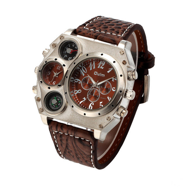 Compass Thermometer Two Zone Steampunk Wrist Watch-Gift-Hut