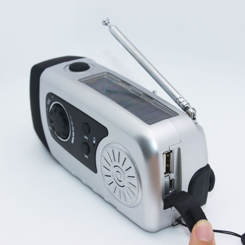 Solar Powered FM Radio, Flashlight & Charger-Gift-Hut