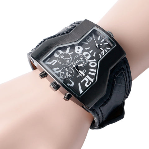 Image of wide Leather Strap Steampunk Wrist Watch-Gift-Hut
